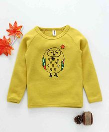 Baobaoshu Owl Printed Full Sleeves Tee - Yellow