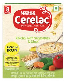 Nestle Cerelac Fortified Baby Cereal With Milk Khichdi With Vegetables & Ghee - From 8 Months 300g Bib Pack