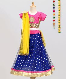 Aglare Choli & Lehenga With Dupatta & Brooch - Pink
