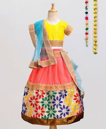 Aglare Short Sleeves Choli With Floral Lace Lehenga & Dupatta Set - Yellow
