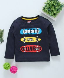 Babyhug Full Sleeves Cotton T-Shirt Graphic Print - Navy Blue