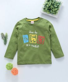 Babyhug Full Sleeves T-Shirt Think Print - Green