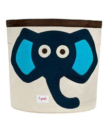 3 Sprouts Storage Bin Elephant Patch - Navy Off White