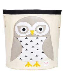 3 Sprouts Storage Bin Snowy Owl Patch - White Grey