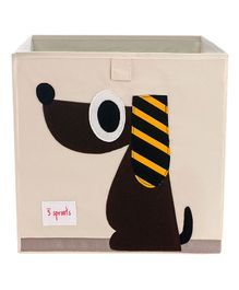 3 Sprouts Storage Bin Puppy Design - Beige & Brown