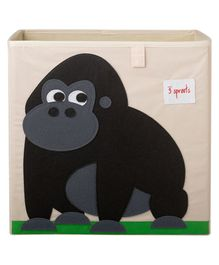 3 Sprouts Storage Bin Gorilla Design - Beige & Black