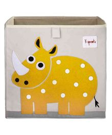 3 Sprouts Storage Box Rhino Patch - Off White & Yellow