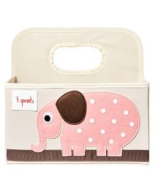 3 Sprouts Diaper Caddy Elephant Print - Cream & Pink