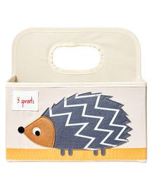 3 Sprouts Diaper Caddy Hedgehog Print - Cream & Purple