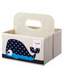3 Sprouts Diaper Caddy Whale Print - Cream & Blue