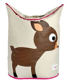 3 Sprouts Laundry Tote Bag Deer Print - Brown