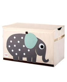3 Sprouts Toy Chest Storage Elephant Print - Light Pink & Grey