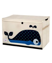 3 Sprouts Toy Chest Storage Whale Print - Light Pink & Navy