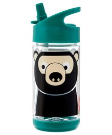 3 Sprouts Water Bottle Bear Print Green - 355 ml