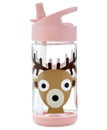 3 Sprouts Water Bottle Deer Print Pink - 355 ml