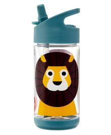 3 Sprouts Water Bottle Lion Print Yellow Green - 355 ml
