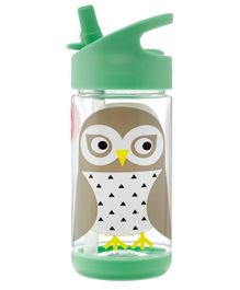 3 Sprouts Water Bottle Owl Print Green - 355 ml