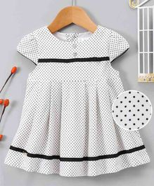 Bee Born Polka Dot Print Cap Sleeves Dress - White