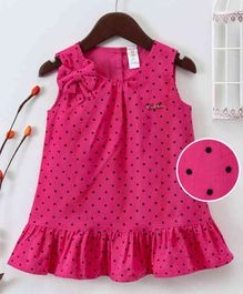 Bee Born Polka Dot Print Sleeveless Dress - Hot Pink