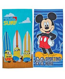 Athom Trendz Minions & Mickey Mouse Premium Kids Bath Towel Pack of 2 - Blue