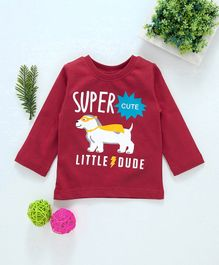 Babyhug Full Sleeves Tee Text & Doggy Print - Red