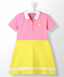 Cherry Crumble California Short Sleeves Stripes Dress - Pink & Yellow