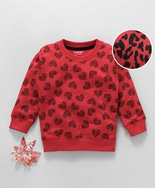 Doreme Full Sleeves Winter Wear Tee Leopard Print - Red
