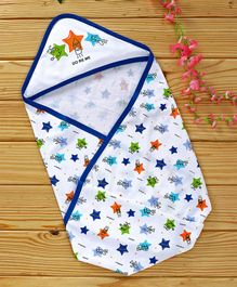 Doreme Hooded Wrapper Star Print - White & Blue