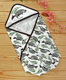 Doreme Hooded Wrapper Panda Print - White & Dark Brown