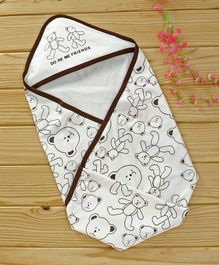 Doreme Hooded Wrapper Star Print - White & Brown