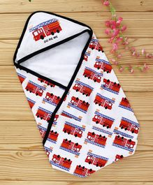 Doreme Hooded Wrapper Fire Vehicle Print - White & Multicolor