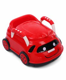 Car Shape Potty Chair With Handles - Red