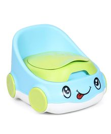 Car Shape Potty Chair With High Backrest - Blue & Green