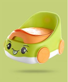 Car Shape Potty Chair With High Backrest - Green
