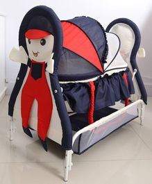 Girl Cradle With Wheels - Blue Red