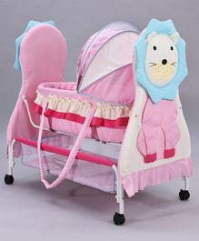 Lion Cradle With Wheels - Pink