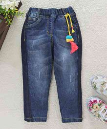 Little Kangaroos Jeggings With Tassel Embellishment - Blue