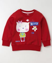 Olio Kids Full Sleeves Winter Wear Tee Kitty Print - Red
