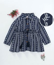 ZY Baby All Over Embroidered Full Sleeves Dress - Navy