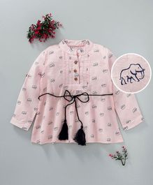ZY Baby Elephant Print Full Sleeves Dress - Pink