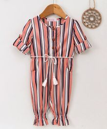 ELE Striped Full Sleeves Jumpsuit - Peach