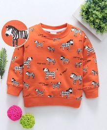 Babyhug Full Sleeves Winter Wear Tee Zebra Print - Rust