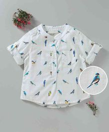Kookie Kids Bird Printed Full Sleeves Shirt - White