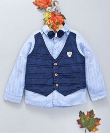 ZY Baby Striped Full Sleeves Shirt With Mock Waistcoat & Bow - Blue