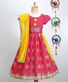 Pspeaches Chanderi Work Choli & Lehenga With Dupatta Set - Pink