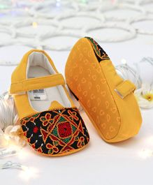 Ivee Embroidered Booties With Velcro Closure - Yellow