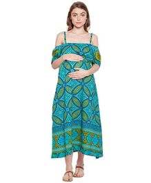Oxolloxo Cold Shoulder Maternity Dress Forest Print - Green Aqua Blue