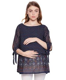 Oxolloxo Three Fourth Sleeves Maternity Top Floral Print - Navy Blue