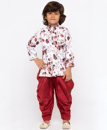 JBN Creation Roses Print Sherwani & Patiala Set - Maroon
