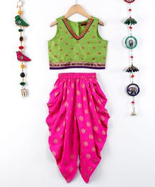 Twisha Embroidered Choli With Dhoti - Green & Pink